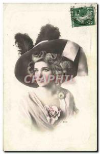 Postcard Old Fashion Woman Hat