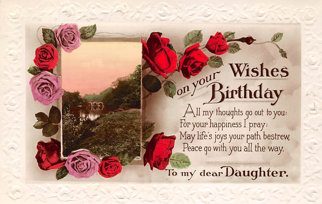 Embossed Birthday Wishes To My Dear Daughter Pink Red Roses Real