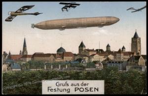 Germany Gruss Aus Festung Posen Zeppelin Feldpost Postcard 73573