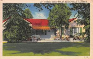Home of Robert Taylor, Beverly Hills, California, Early Linen Postcard, Used