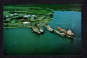 ME View Oil Depot Terminal Tankers Ships Boats Tanks Searsport Maine Postcard PC