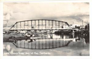 Fairbanks Alaska Chena River Bridge Real Photo Antique Postcard (J30626)