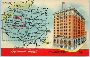 Williamsport, PA Postcard LYCOMING HOTEL Street View w/ Highway Map Linen c1940s