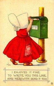 Sunbonnet Girl at Mailbox.  Artist: Bernhardt Wall