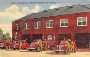 LP56  Parris Island  South Carolina Fire Department  Marine Barracks  Postcard