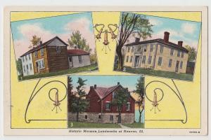 NAUVOO Illinois Ill Postcard Roadside 3View HISTORIC MORMON LANDMARKS Log Cabin