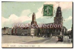 Old Postcard Calais Place D'Armes and Belfry