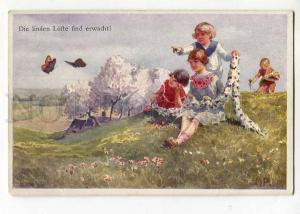 264773 NYMPH wreath of flowers Girl BUTTERFLY by MP Vintage PC