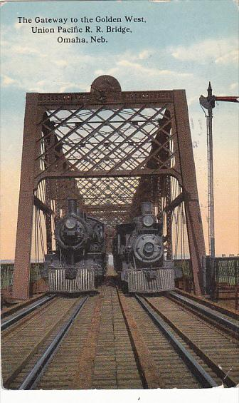 Trains On The Union Pacific Railroad Bridge Gateway To The Golden West Omaha ...