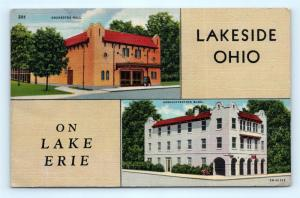 Postcard OH Lakeside on Lake Erie Orchestra Hall Administration Building I11