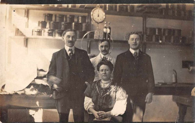General Store Interior and Workers Real Photo Postcard AA4107