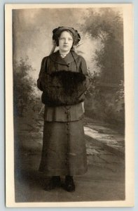 RPPC~Lovely Lady~Smartly Dressed~Small Hat~Huge Fur Hand Muff~Nice Backdrop~1916