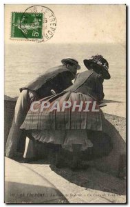 Old Postcard Le Treport In Rout of Jetee A Gust of Wind