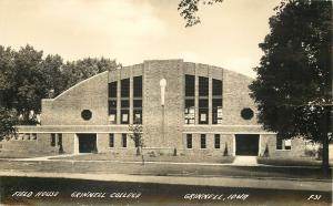 Grinnell College IA Art Deco Field House~Home of Pioneers Basketball RPPC 1940s