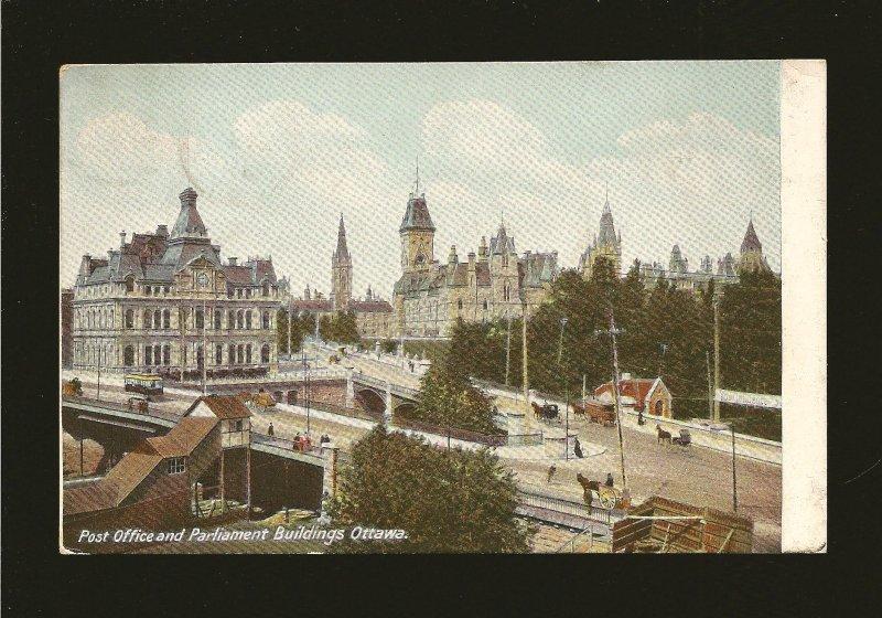 Postmark 1908 Midland Ont Parliament Buildings & Post Office Ottawa Postcard