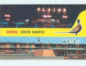 Unused Pre-1980 OLD CARS & PLAINS MOTEL Huron South Dakota SD M0462-22