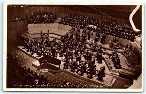 VTG Postcard RPPC Real Photo Royal Festival Hall Orchestra Music Violin A7