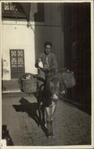 Spain - Spanish Man Donkey Milk Seller Vendor w/ Baskets Real Photo Postcard