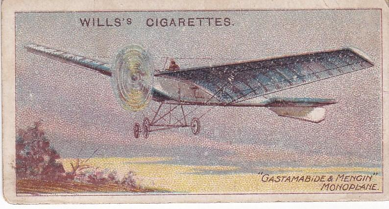 Cigarette Cards Wills AVIATION No 34 Giastamabide & Mengin Monoplane, 1908