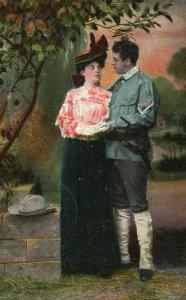 Vintage Postcard 1909 Man in Uniform & Woman Portrait Love Greeting