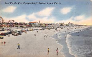 Linen Postcard The World's most famous beach, Daytona Beach Florida USA #D