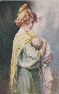 Young Mother looking lovingly over her newborn baby, 1900-10s