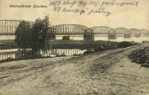 poland, GRAUDENZ GRUDZIĄDZ, Weichselbrücke, Most Wisła (1915) Postcard