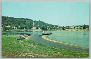 Aurora Indiana~Ferry~River~Station Wagon~Cars~Church Steeple~Postcard~1960s