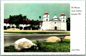 Santa Barbara Mission, California RPPC Postcard Front View Tinted Photo Unused