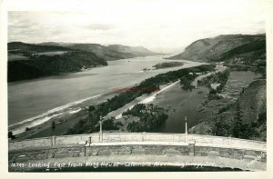 OR, Columbia River Highway, Oregon, Looking East From Vista House, RPPC