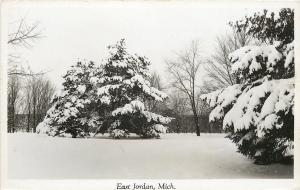 East Jordan MI~Snow Covered Evergreens, Others Barren 1950 Real Photo Postcard
