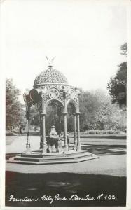 RPPC Postcard Fountain, City Park, Launceston Tasmania Australia No.462 unposted