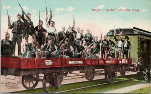 Belgium Guides Off To The Front WW1 Soldiers Military Train Railway Postcard G37
