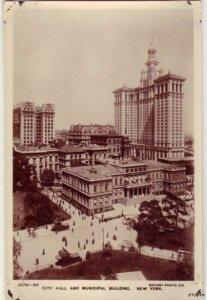 CITY HALL MUNICIPAL BLDG NEW YORK RPPC A REAL ROTARY PHOTO ON RAJAR BROMIDE CARD