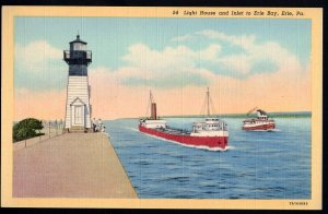 Pennsylvania Light House and Inlet to Erie Bay ERIE with Ship Tugboat - LINEN