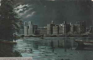 Caernarfon - Carnarvon Castle by Moonlight - Wales, United Kingdom - pm 1905 UDB