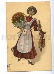 189690 EASTER Rabbit Gift Flowers GOOD LUCK Vintage Color PC
