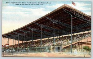 Des Moines Iowa~State Fairgrounds~Grandstands Crowd @ Steel Amphitheatre~c1910