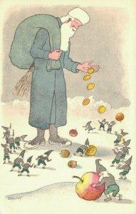 Blue Santa Claus Postcard Artist Signed E.Kreidolf 04.02