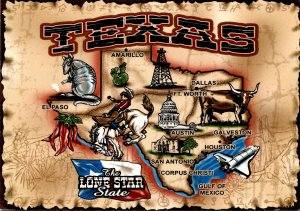 Texas Map Of The Lone Star State 2005