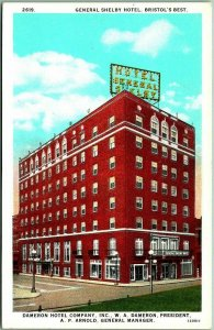 Bristol, Tennessee Postcard GENERAL SHELBY HOTEL Dameron Hotel Co. c1930s