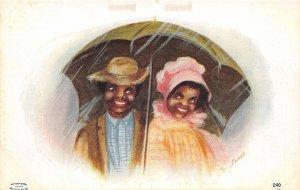 G57/ Black Americana Postcard c1910 Umbrella Kids Love 1