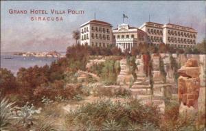 Siracusa Grand Hotel Villa Politi Promo Advertising c1910 Postcard EXC COND