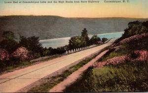 New York Canandaigua Lower End Of Canandaigua Lake & High Banks From State Hi...