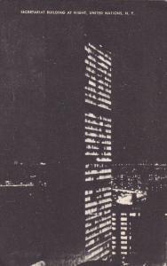 NEW YORK CITY, New York, 1930-1940's; Secretariat Building At Night, United N...