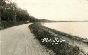 Lake Drive Litchfield Minnesota 1939 RPPC Photo Postcard Pearson 540