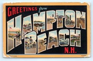 Postcard NH Hampton Beach Large Letter Greetings Vintage Linen H18