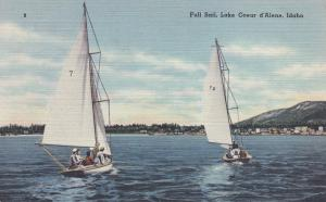 Lake Coeur d'Alene , Idaho , 1930-40s ; Full sail