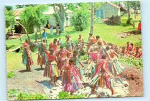 Fijian Fire Walking Fiji Beqa Island Natives Vintage 4x6 Postcard E15