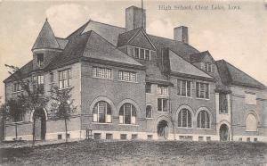 Clear Lake Iowa~High School~B&W Postcard c1910